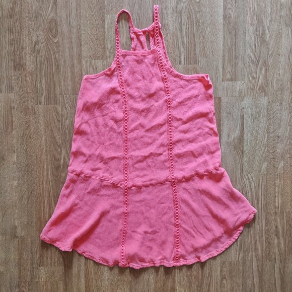 Hollister Hot Pink Top With Crochet Straps Size XS